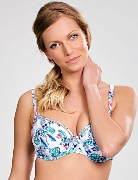 Pananache Elle Balcony Bikini Top SW0872 Non-padded White Tropical - White/Tropical