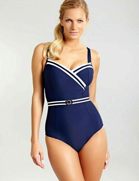 Panache Portofino Swimsuit Navy/Ivory 1210 F-K cup Detachable waistband