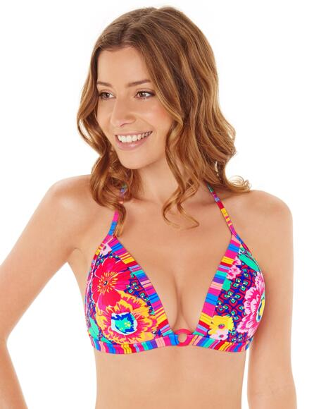Lepel Sun Kiss Push Up Triangle Bikini Top - Pink Multi
